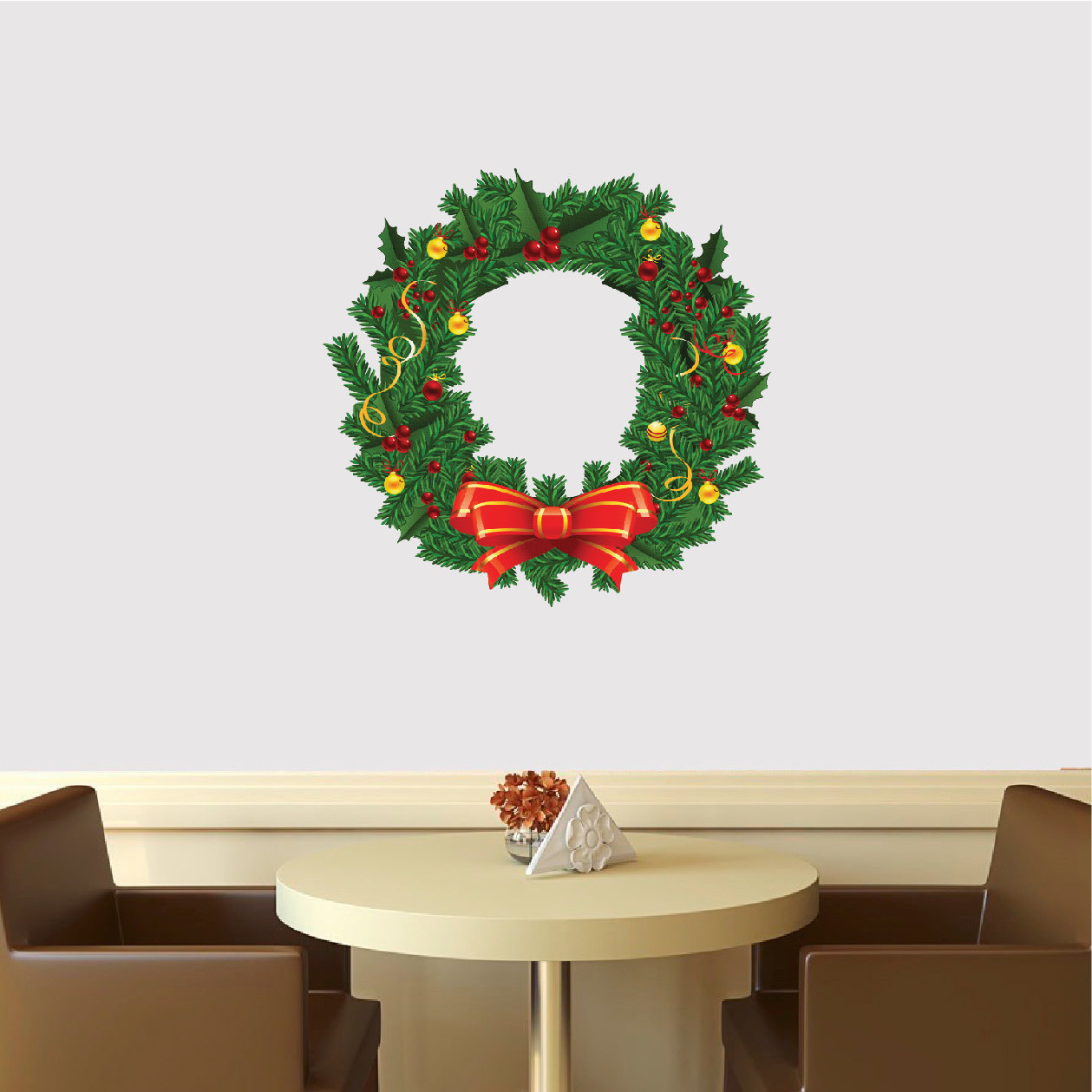 Pictures Wall Decor Ideas Christmas Wreath Wall Decal Mural Christmas Wreath Wall
