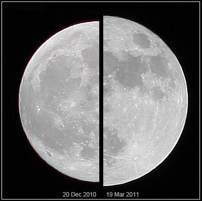 A la izquierda, una luna llena normal del 2010. A la derecha, la superluna de marzo del 2011. ¿Notarías la diferencia en brillo y tamaño, viéndolas con más de un año de separación?