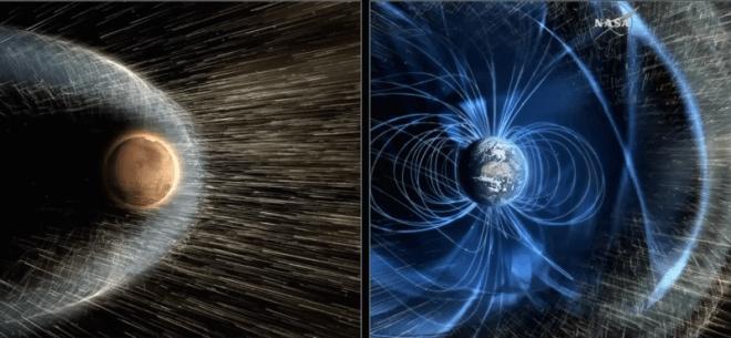 El impacto del viento solar es distinto en Marte que en la Tierra. Imagen de Gizmodo vía NASA.