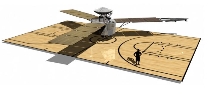 La sonda espacial Juno, con sus tres enormes paneles solares, abarca un área de casi 60 m². Imagen: NASA/JPL-Caltech