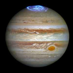Auroras en Júpiter. Se espera que Juno obtenga imágenes cercanas de este fenómeno. Imagen: NASA, ESA, J. Nichols (University of Leicester)