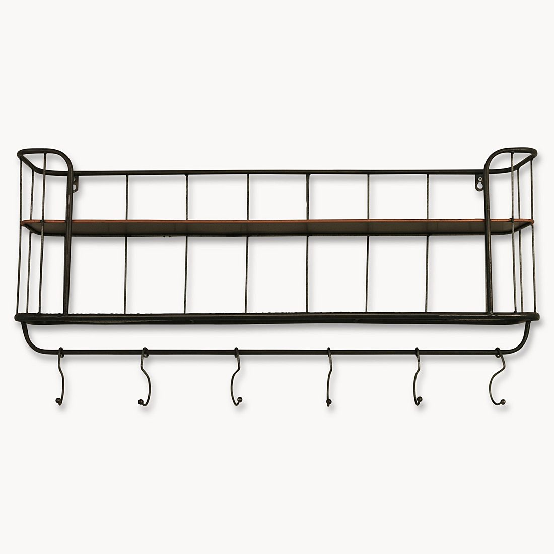 Industrial Wall Shelving Units Two Shelf Industrial Wall Unit With Hanging Hooks