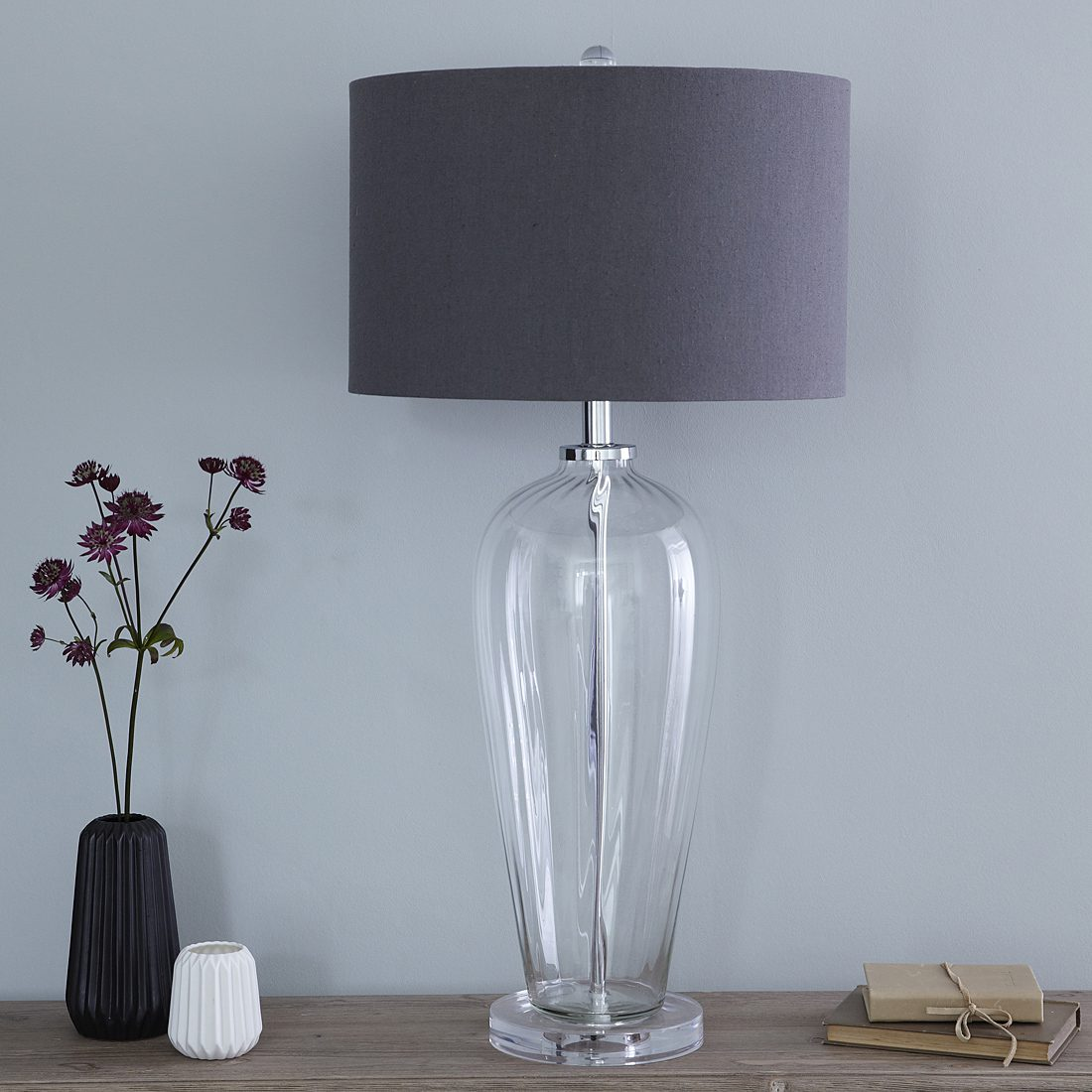 Tall Bedside Lamps Fluted Glass Table Lamp With Slate Grey Shade Primrose