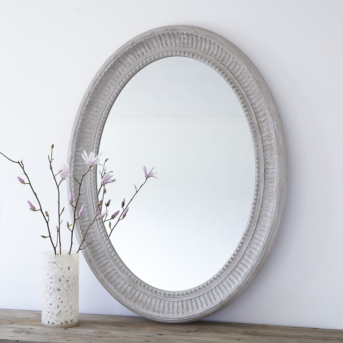Oval Mirror Wood Frame Large Grey Oval Wooden Wall Mirror