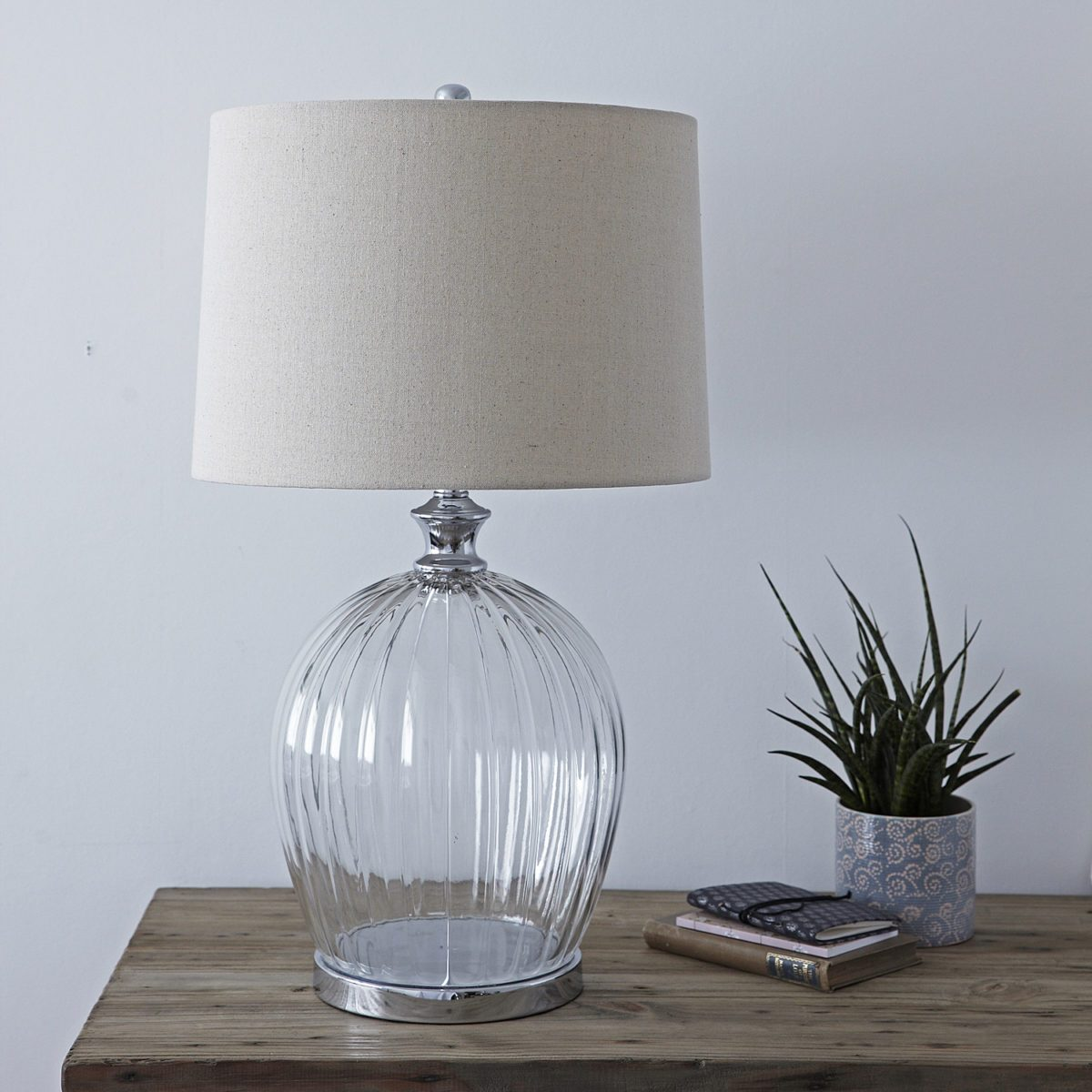 Glass Lamp Tables Ireland Ribbed Glass Table Lamp With Natural Shade Primrose Plum
