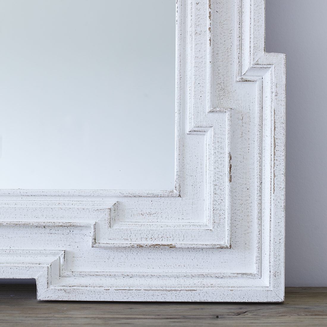 Art Deco Style & Light White Distressed Deco Wall Mirror