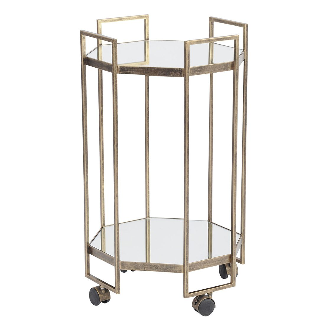 Art Deco Style & Light Antique Gold Octagonal Drinks Trolley
