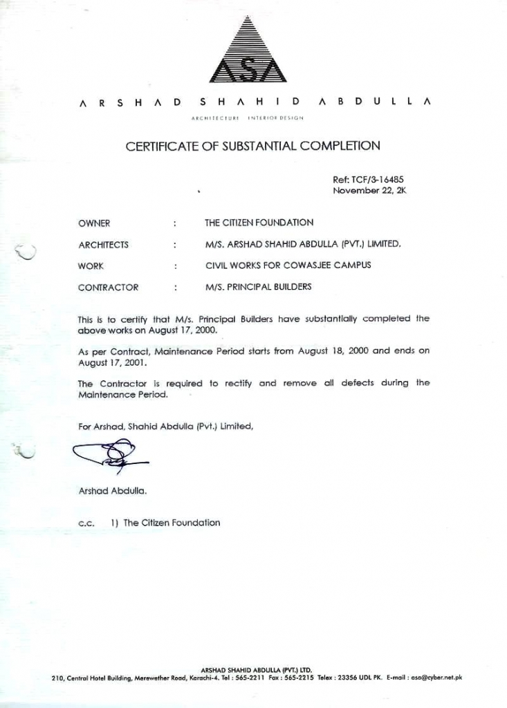 PRINCIPAL u2013 Engineers \ Constructors - Awards \ Certificates - certificate of construction completion