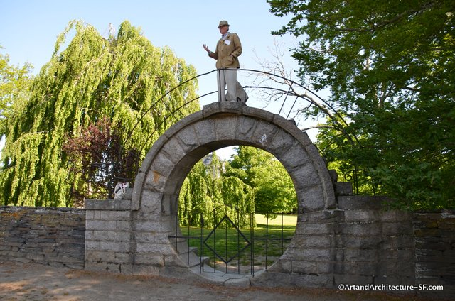 Professor Richard Guy Wilson atop the Moon Gate at Chateau-Sur-Mer