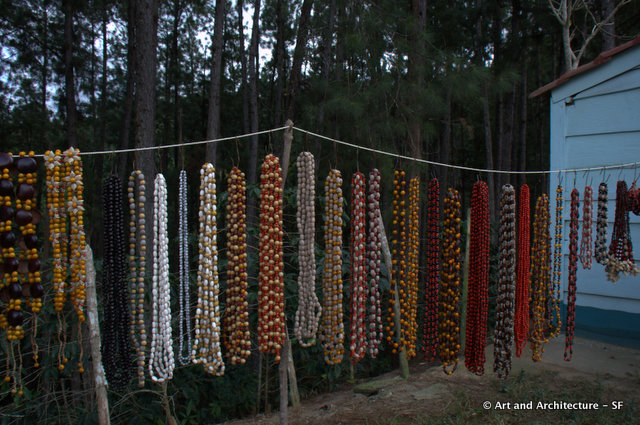 The necklaces are made from seeds and beans and are really, really pretty