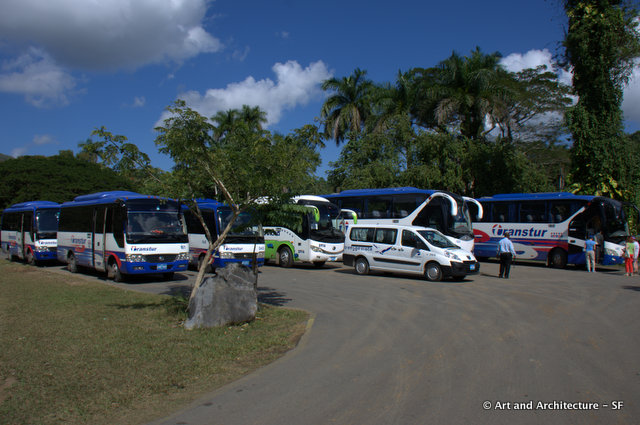 Tourist Buses at the Indian Caves in Cuba