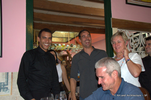 Nadia, Gustavo, the owner of Mercaderes and our waiter President Obama