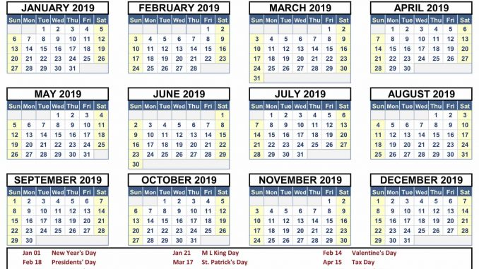 Free Printable Calendar 2019 With Holidays PDF, Word, Excel Landscape