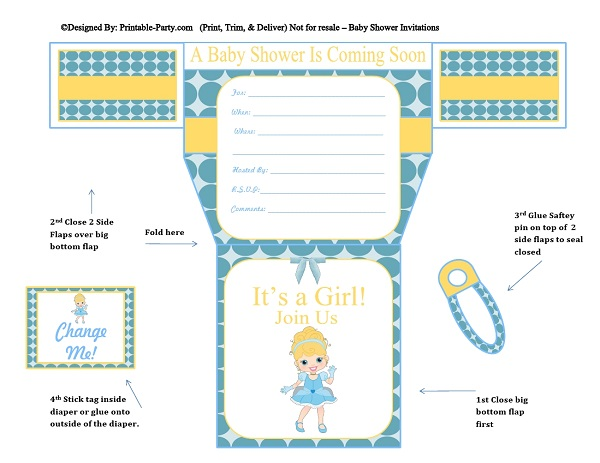 Frog Poop Girls Diaper Baby Shower Invitations | Diaper Printable