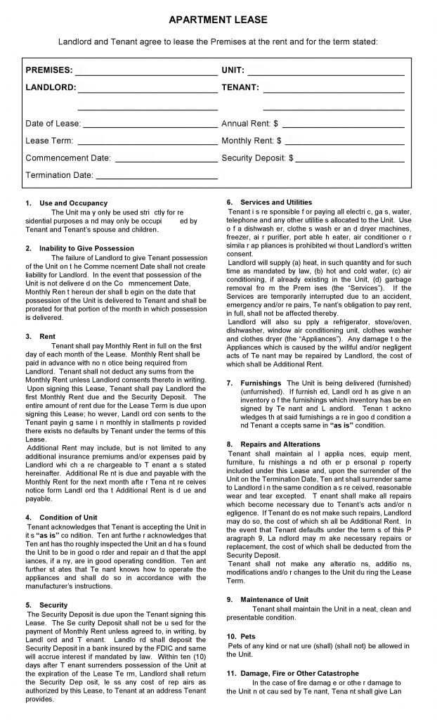 Free Printable Apartment Lease Agreement - Printable Agreements - apartment lease agreements