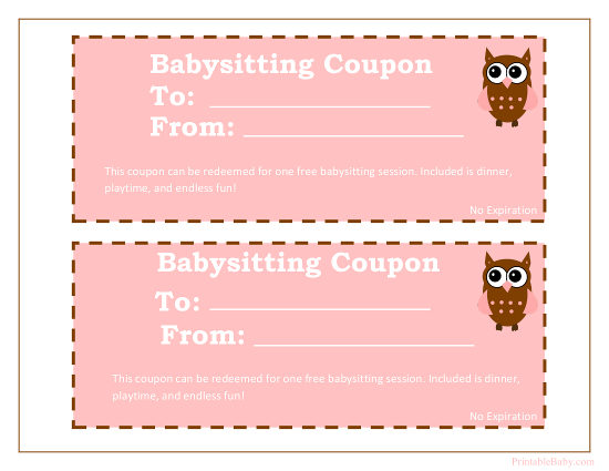 Printable Babysitting Coupons - Free Baby Sitting Voucher - coupon template free printable