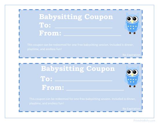 Babysitting Coupon Template - babysitting pass