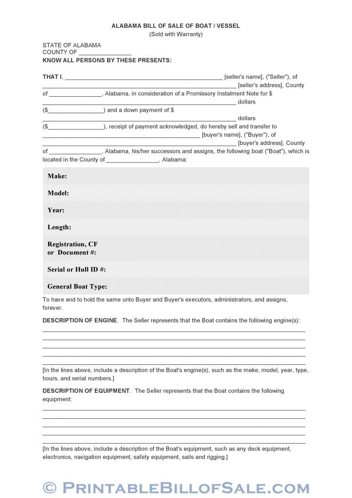 Free Alabama Bill Of Sale Of Boat / Vessel Form Download PDF DOC - bill of sales forms