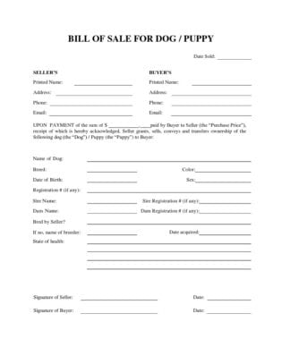 Free Dog or Puppy Bill of Sale Form Download PDF Word Template