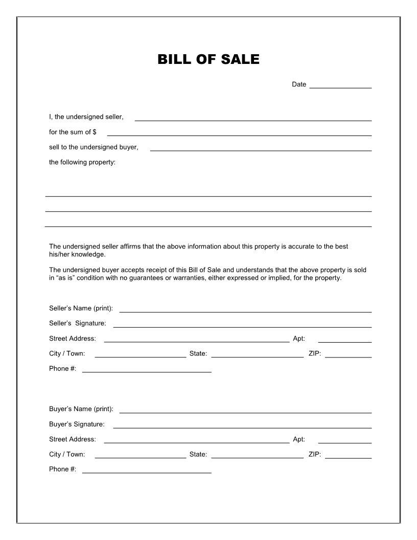 Car Bill Of Sale Form Kansas | Resume Samples - Find Different ...