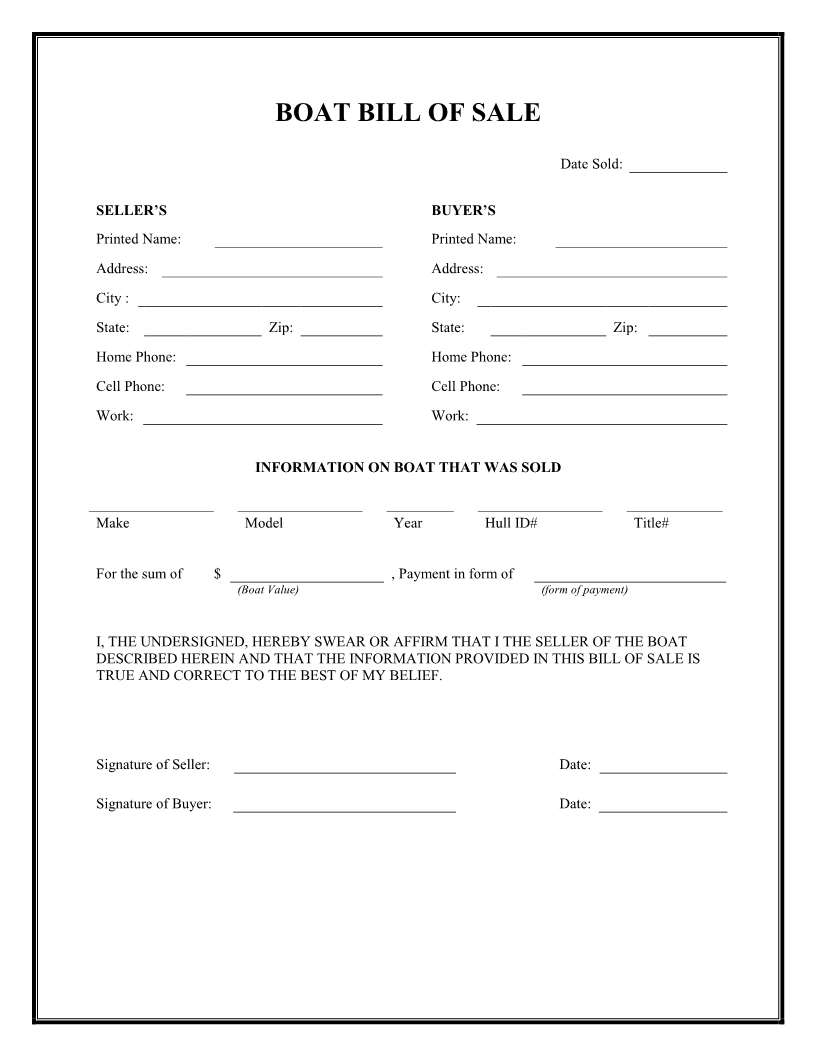 Bill Of Sale Form Texas Boat – Bill of Sale Word