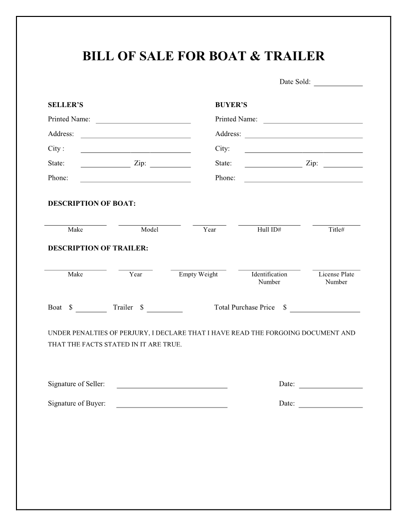 Bill Of Sale Form Boat Trailer Free | Cover Letter And Resume ...