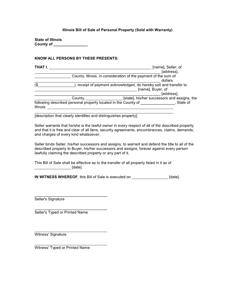 Bill Of Sale Form Printable Bill Of Sale Forms Free Illinois Bill Of Sale Of Personal Property Form