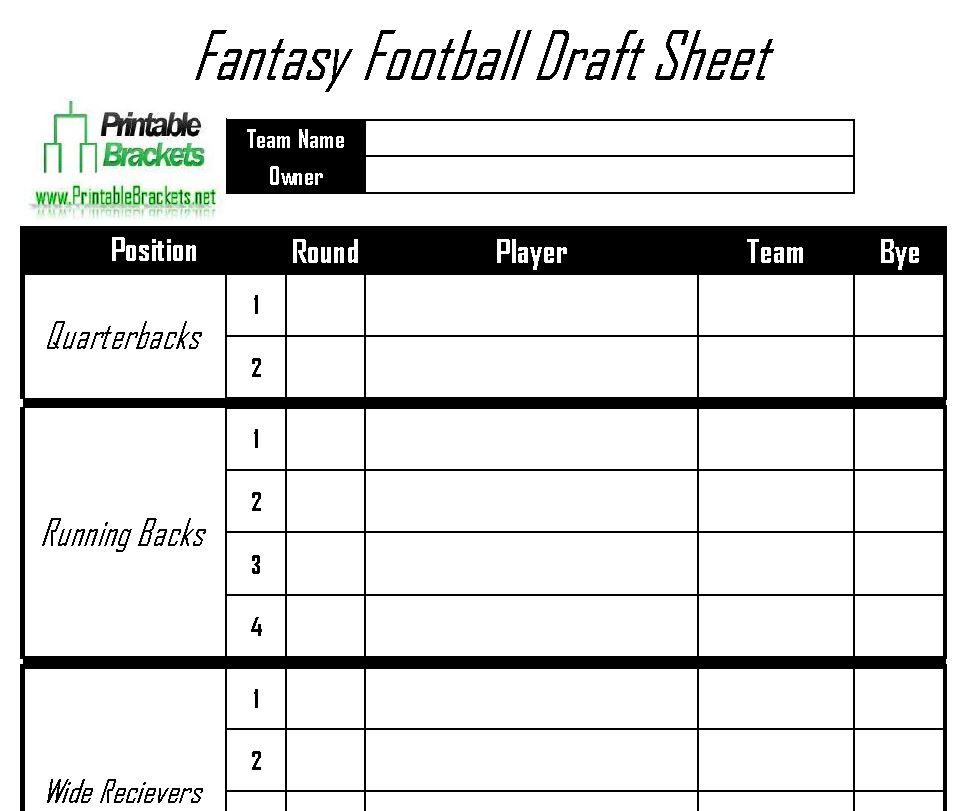 Fantasy Football Draft Sheet Printable Fantasy Football Draft Sheet