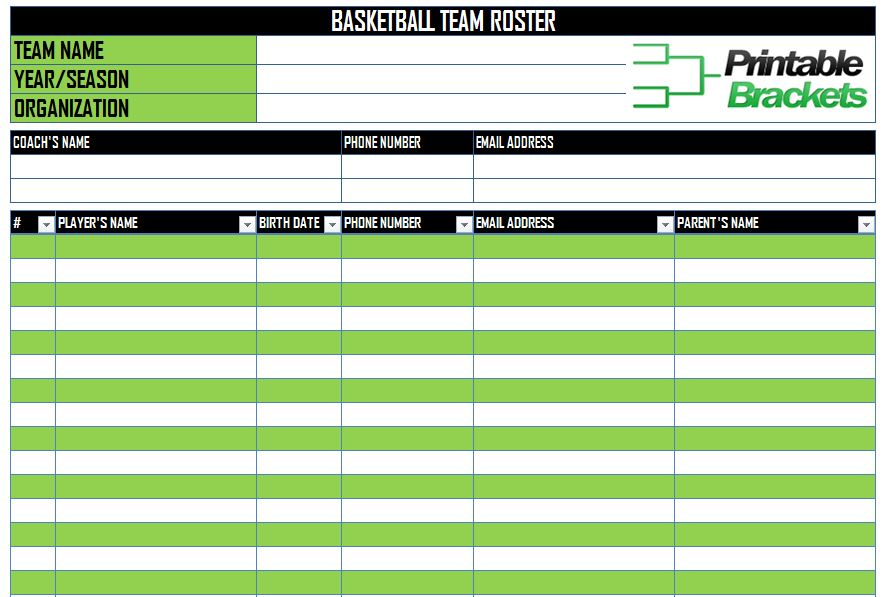 Basketball Roster Template Basketball Team Roster Template - Sports Roster Template