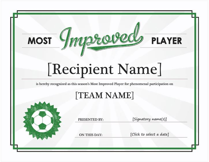 Most Improved Player Most Improved Player Certificate Template