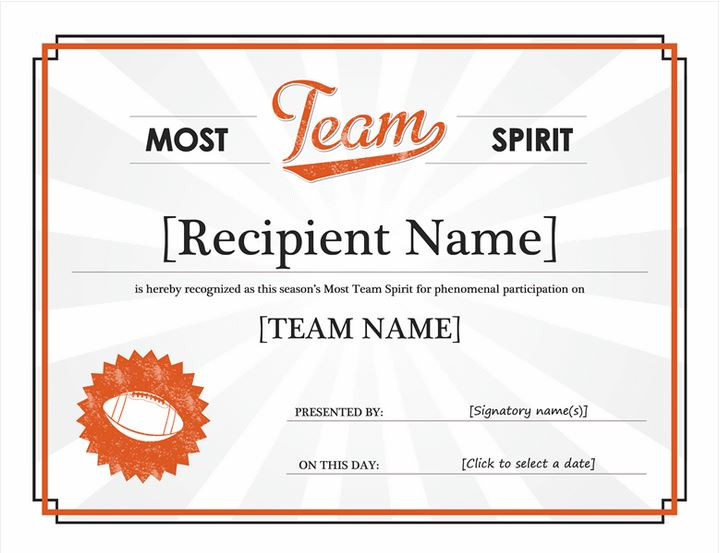 Team Spirit Award Team Spirit Award Template