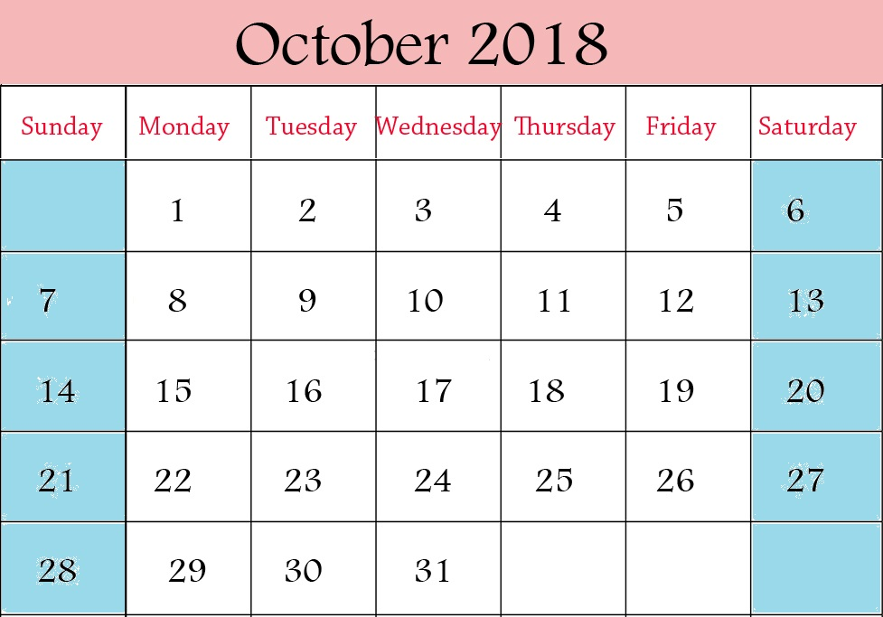 Printable October 2018 Calendar Blank Template Excel PDF Word