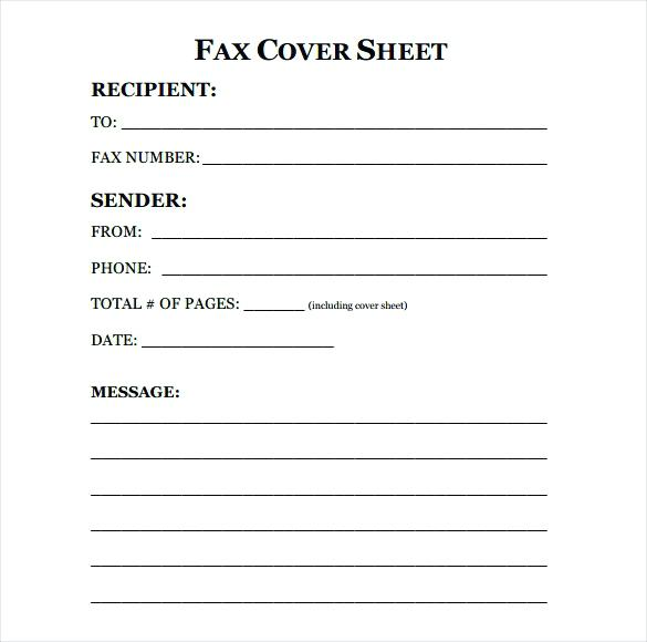 Free Printable Fax Cover Sheet Template Word PDF Download