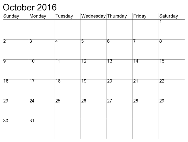 2015 Calendar October Blank Template