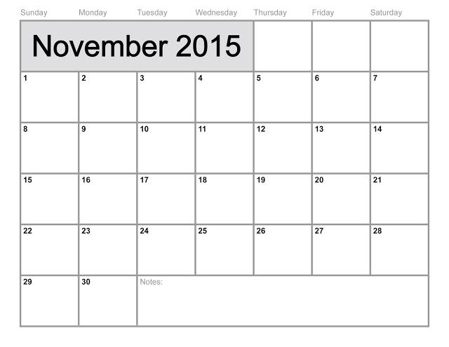 November 2015 Blank Calendar Templates Printable And Editable