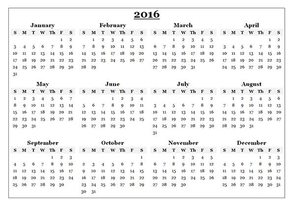 Free Printable calendars 2016