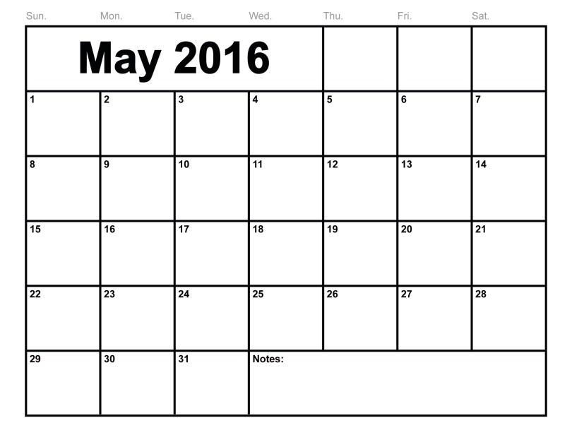 May 2016 Printable calendar PDF