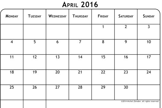 Printable calendar for April 2016