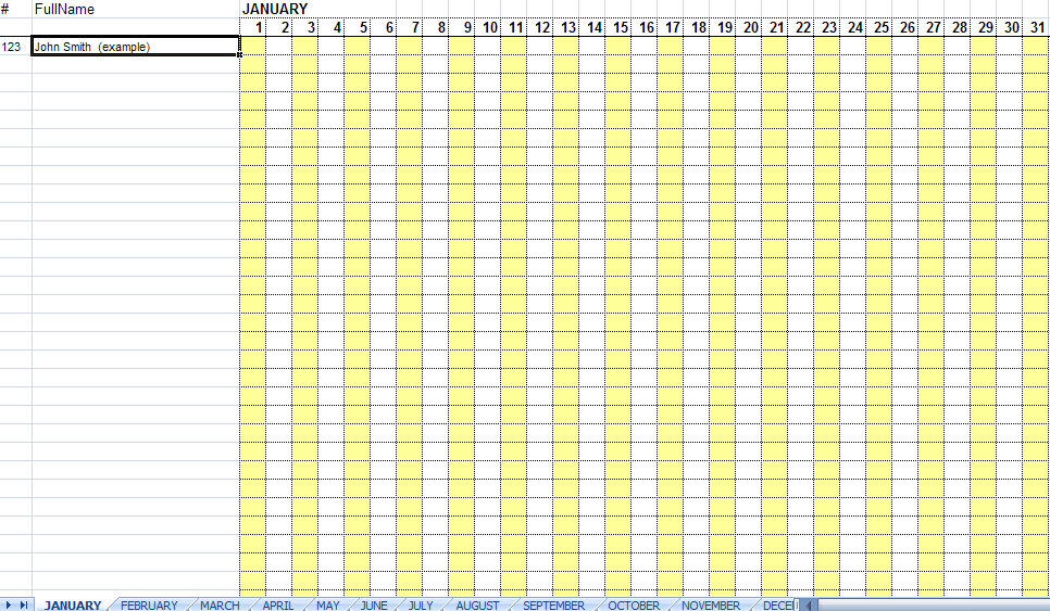 Attendance Sheet for Employees Excel 2016 | Printable Calendar Templates