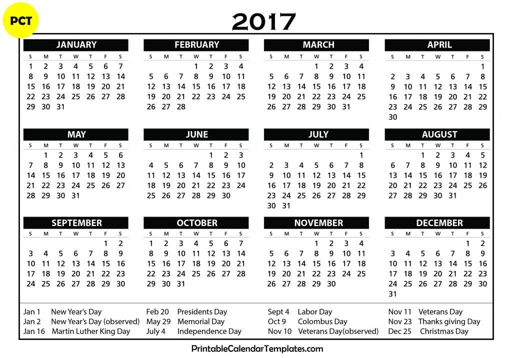Free Printable calendar 2017 Printable Calendar Templates - printable calendar template
