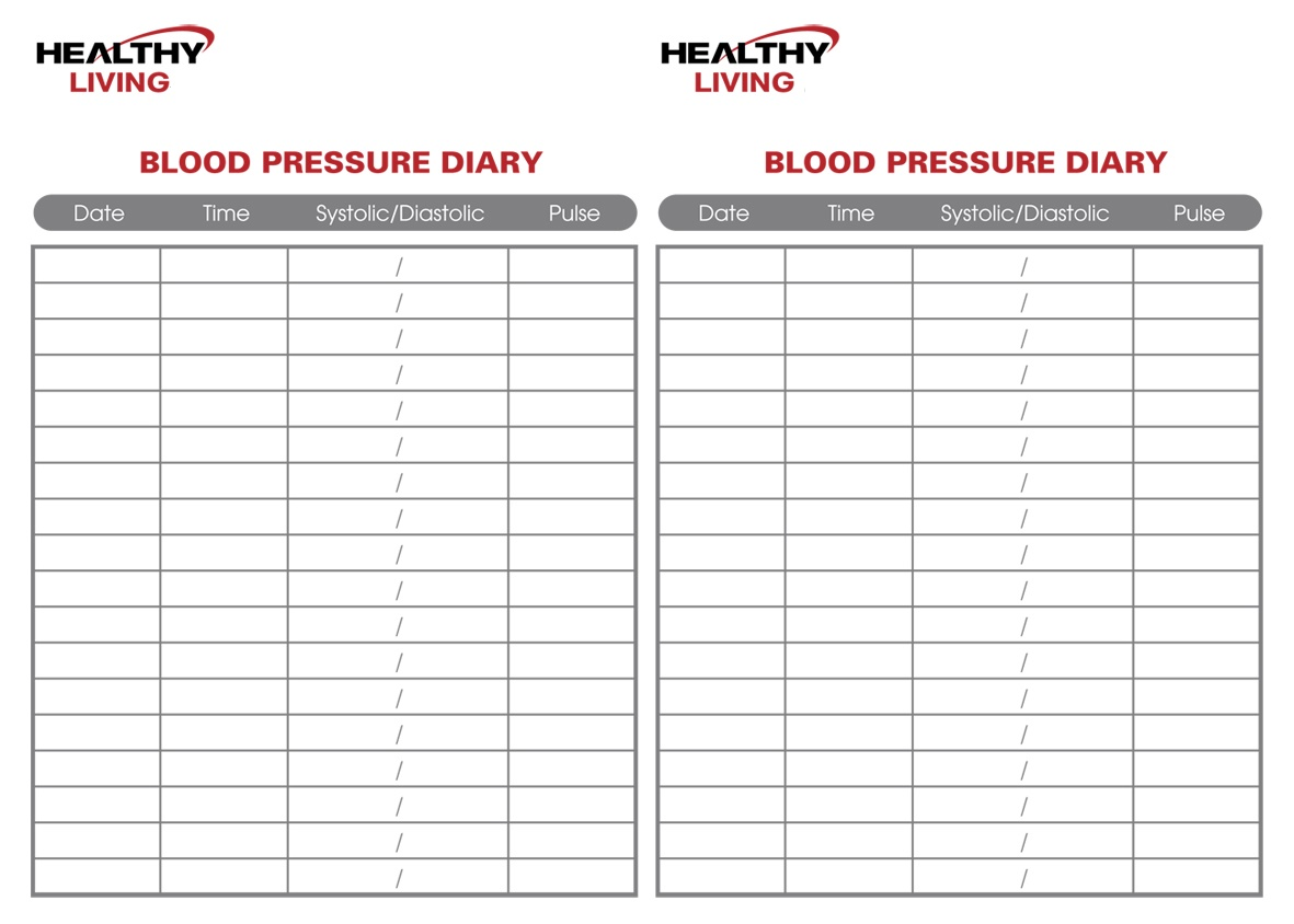 blood pressure monitoring chart template
