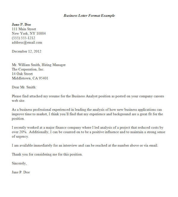 formal business letter format official letter sample template