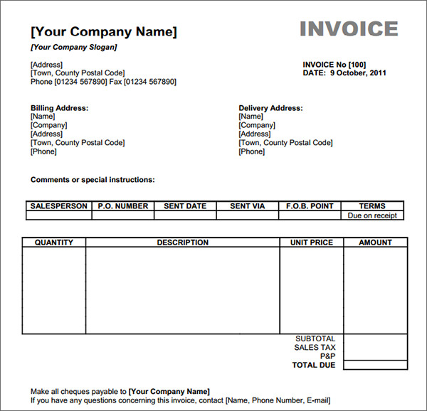 Download Invoice Template Uk Xls | Rabitah.Net