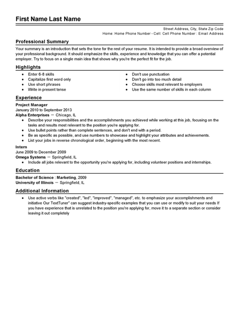 cv template bullet points