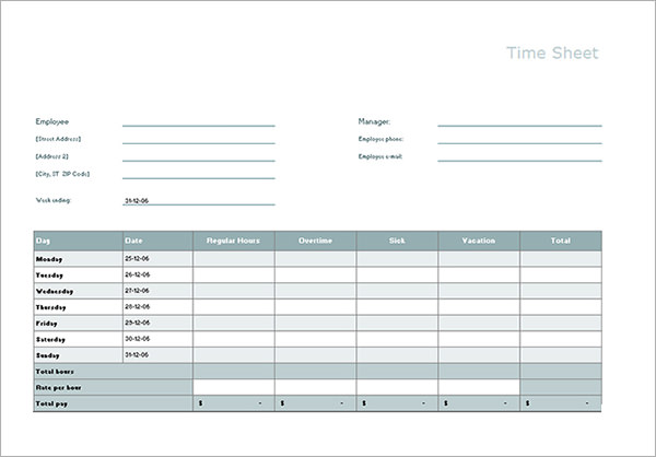 Free Timesheet Calculator Template Printable Calendar Templates