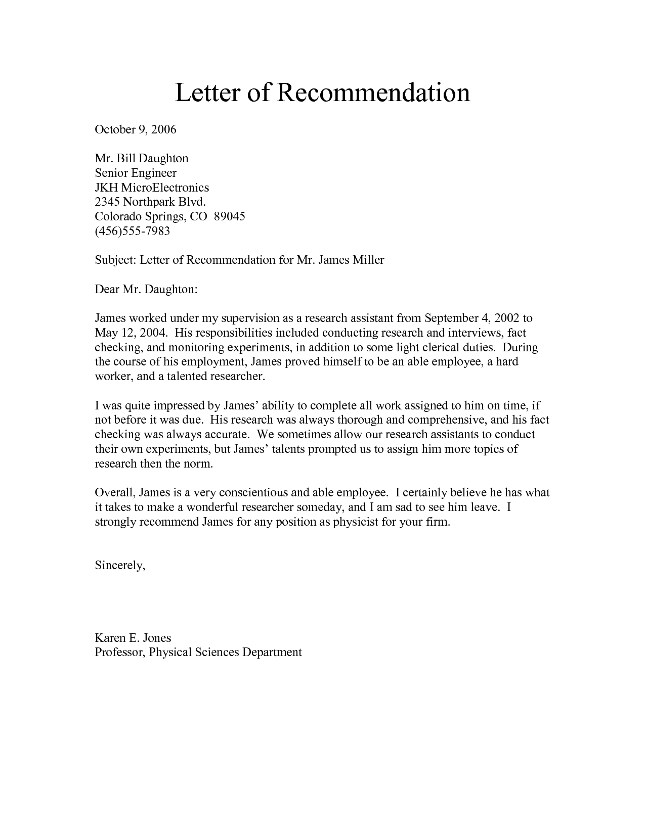 a sample letter of recommendation