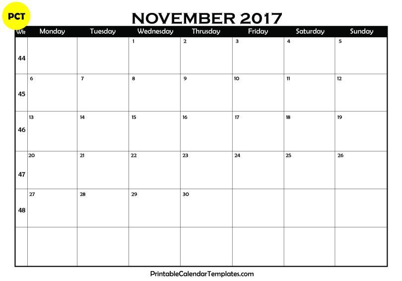 November 2017 Blank Calendar PDF