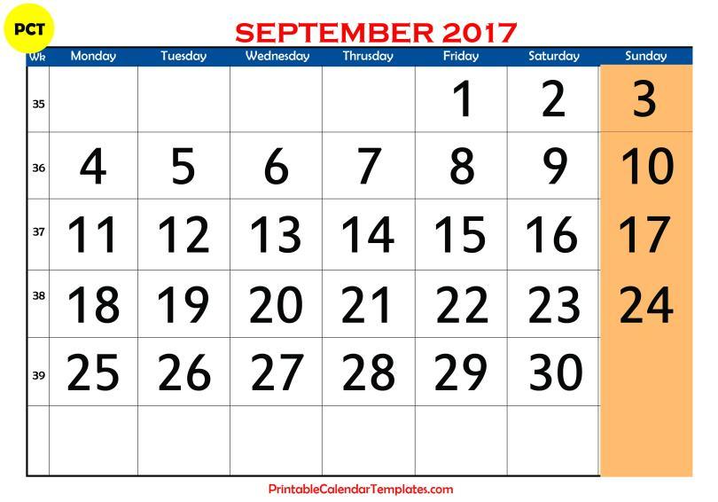 September 2017 calendar templates