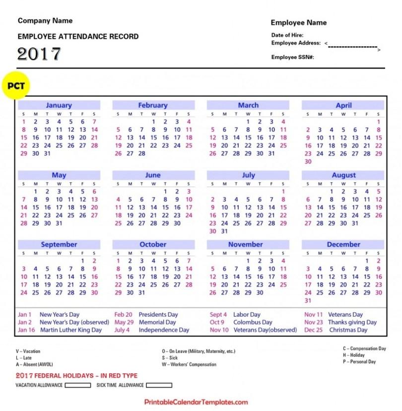 Sheet for Attendance of Employees Excel 2017, Attendance Sheet for Employees Excel 2017, Employee Attendance Calendar 2017, Tracker Template 2017