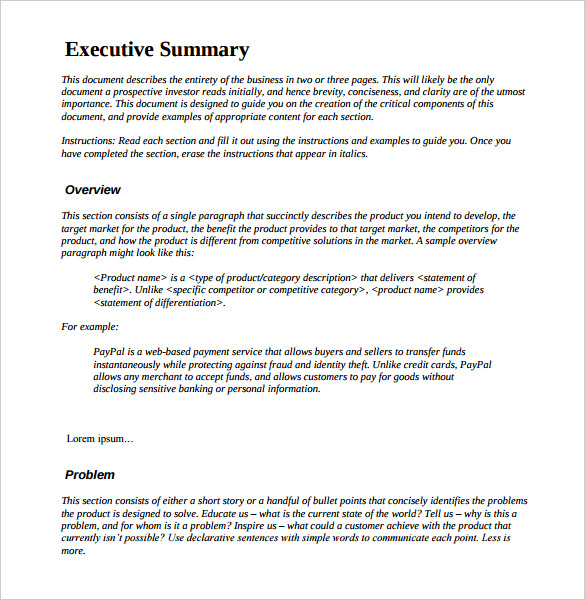 Sample Executive Summary Report Business Plan | Professional